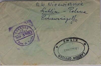 Poland 1963 Airmail Cover To Rhodesia Missent To Panama + Labour Office Kitwe Ds