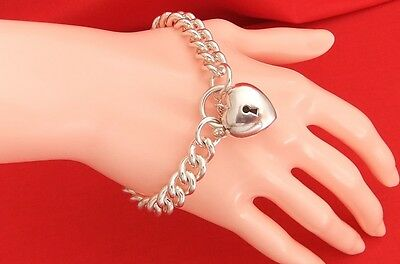 Michael Hill 925 Sterling Silver Chunky Curb Link Bracelet & Heart Padlock Clasp