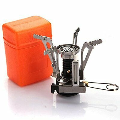 Portable outdoor gas burner for a picnic foldable steel stove compact orange
