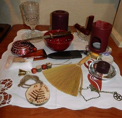 Altar Set Kit Wicca Besom Athame ( Dagger )  Bell Large Candle  MORE