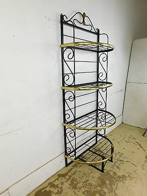 29W Vintage Mid Century Hollywood Demilune Brass Wrought Iron French Bakers Rack