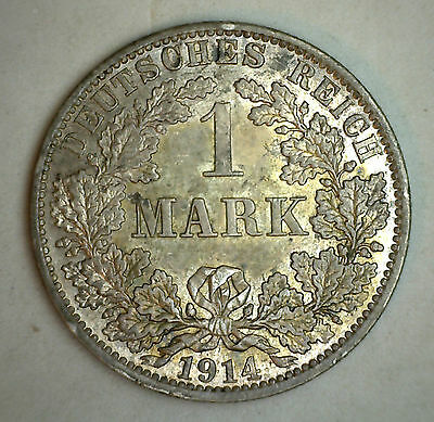 1914 A Silver German 1 Mark Germany Coin BU