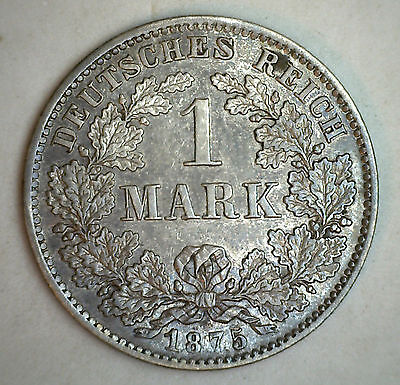 1875 D Silver German 1 Mark Germany Coin UNC