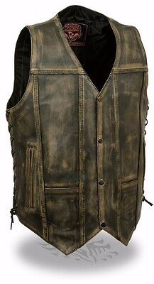 Distressed Brown Men's Motorcycle 10 Pockets Leather Vest Side Laces Gun Pocket