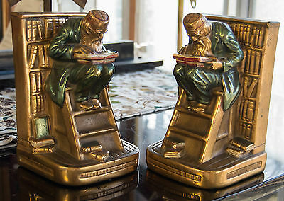 """Vintage Heavy Bronze Bookends Signed """" The Old Professor""""  By Pompeian"""