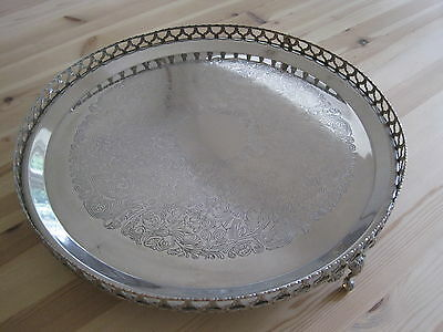 Vintage silver plated large gallery tray quite ornate