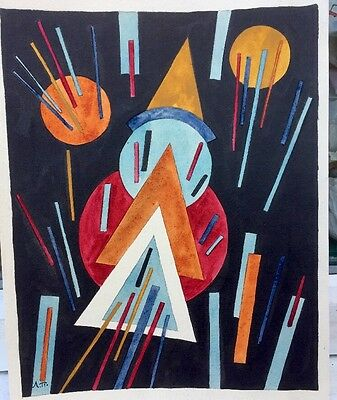 1950s RUSSIAN / GERMAN ABSTRACT / CUBIST WATERCOLOUR signed