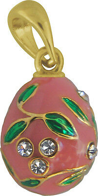 Faberge Egg Pendant / Charm with crystals 1.5 cm pink #0970-04