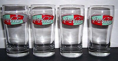 Coca-Cola Glasses Red Green & White on Clear Set of 4
