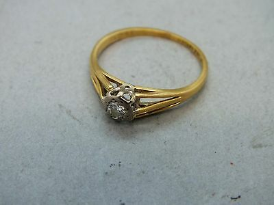 "Superb 1930's 18ct Gold & Platinum Solitaire Diamond ""Lifetime"" Hallmarked Ring"
