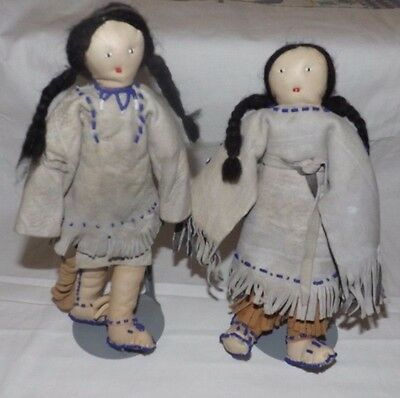 (PAIR) Vintage Native American Indian Dolls with Leather Faces and Clothing