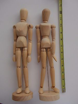 2 male and female Figure drawing wooden figure articulated mannequins H=12 inche