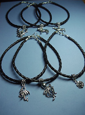 """Game of Thrones  Houses Charm 10"""" Braided PU Leather Ankle Bracelet"""