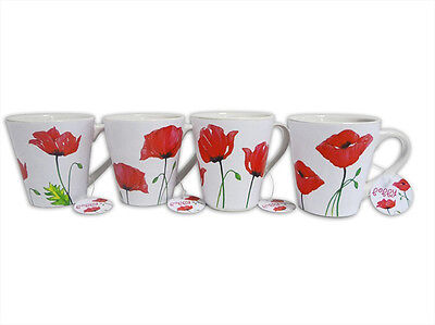 Set of 4 Poppy Design Porcelain Mugs Ideal for Home and Office