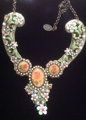 RARE! Michal Negrin Signed Vintage Mixed Media Necklace-adjustable