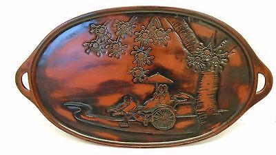 Large Japanese Lacquer Carved Wooden Tea Tray, Travel Scene