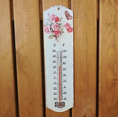 French Vintage Floral Metal Tin Garden / Room Thermometer Pink Rose & Butterfly