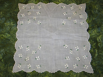 VTG Handkerchief Hanky~Hand Embroidery~Lily of the Valley-Pale Lavender Linen