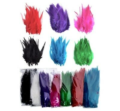 """COLOURED 4-6"""" 10-14cm ROOSTER FEATHERS DIP DYED CRAFT COSTUME HAT CARD MAKING"""