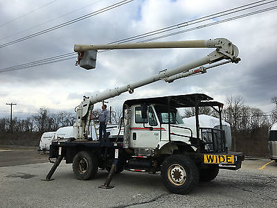 2006 International 7300 4x4 Aerial Lift of Ct 57' Flatbed Bucket Boom Truck PTO