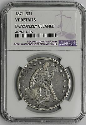 1871 Liberty Seated Dollar $1 VF Details NGC