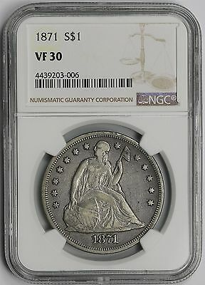 1871 Liberty Seated Dollar $1 VF 30 NGC
