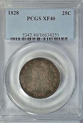 1828 Capped Bust quarter, large size, PCGS XF40