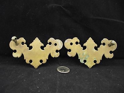 2 Antique Thick Solid  Brass Backer Drawer Pulls No Handles
