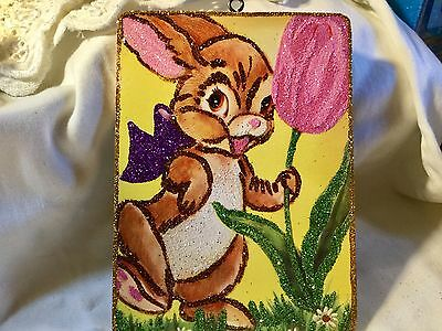 Bunny with Tulip*Vintage Glittered Card Image*Glittered Easter Ornament