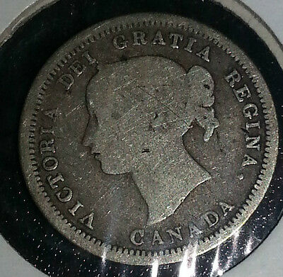 1870 Canada Five Cent Coin 92.5 Silver Free Shipping