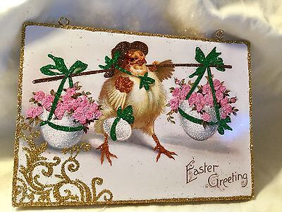 Chick Carries Eggs & Flowers*Vintage Glittered Image*Glittered Easter Ornament