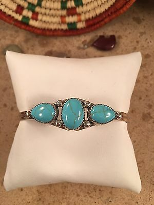 Navajo Turquoise & Sterling Silver Cuff Bracelet Signed