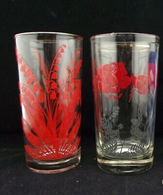 3 Vintage Swanky Swig Drink Glasses  Blues And Reds