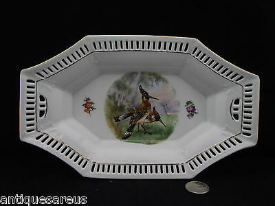 "Old 10"" Schumann Bavaria Pierced Rectangle Shape Holder With Bird"