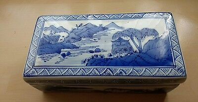 Chinese antique  qianlong seal mark covered box Blue and white.