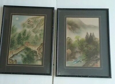2 Vintage Oriental Japanese Chinese Watercolor Landscapes Signed