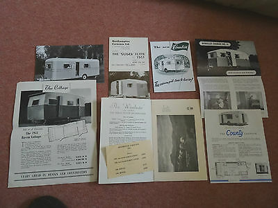 1951 7 Different Caravan Brochures And Price Lists, Mint Condition