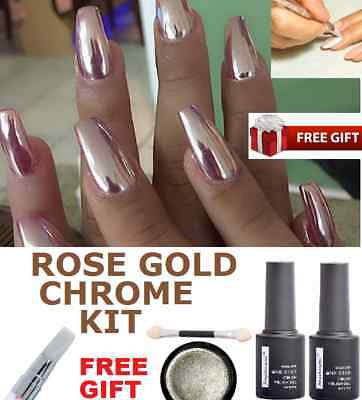 SALE! MIRROR POWDER CHROME EFFECT Pigment NAILS New Rose Gold Silver Nail Art