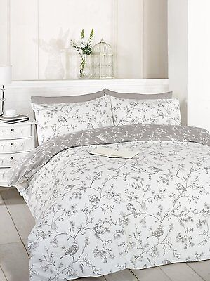 Reversible Duvet / Quilt Cover Set With Pillowcase Birds & Flowers Taupe Toile