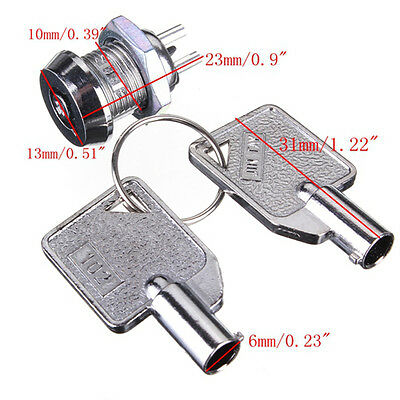 SECURITY SAFE LOCK SWITCH SPST 2 Position ON-OFF 2 Keys miniature chrome metal