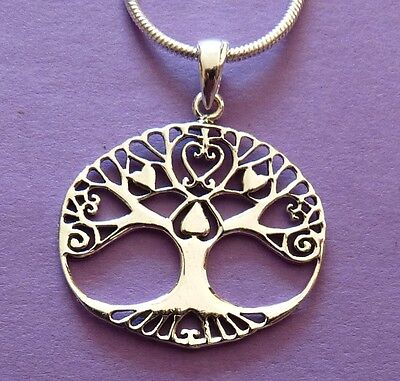 Beautiful Sterling Silver TREE OF LIFE Pendant & Chain. Pagan/Wiccan/ Druid