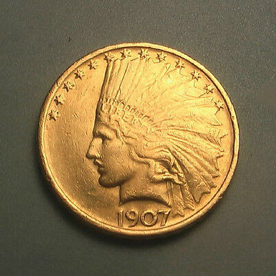Rare 1907 No Motto Gold $10 Indian Head Eagle Coin ~ First Year ~