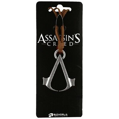 Assassin's Creed Brown Necklace Cord With Metal Symbol Logo - Brand new!