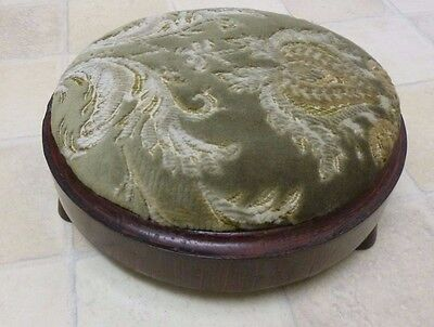 Vintage Velvet Covered Victorian Style Round Wood Footstool:for Tapestry ReCover