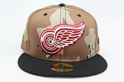 28295d11e5b Detroit Red Wings Desert Camo Black Red White NHL New Era 59Fifty Fitted Hat  Cap