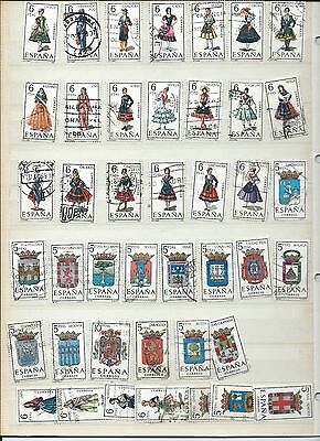 Spain stamps. Used lot of costumes & Arms (Y243)