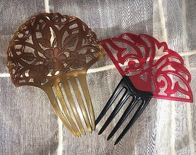 Vintage Lot Of 2 Lovely Art Deco Celluloid Hair Combs