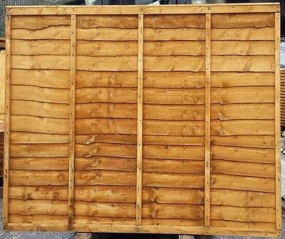 5ft High Waney Larch Over Lap Heavy Duty Strong Garden Fence Panel 6x5 Fencing