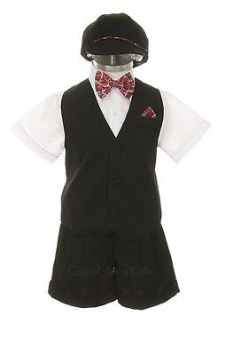 New Infant Baby Boys White Black Easter Shorts Set Outfit Suit Wedding 7002