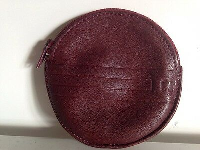 Vintage Nina Ricci Small Round Burgundy Leather Zippered Coin Purse France